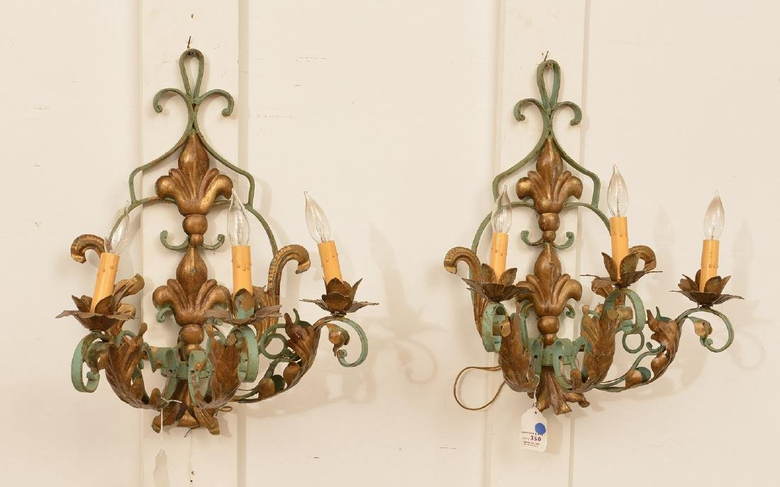 Pair Continental painted wrought iron wall sconces