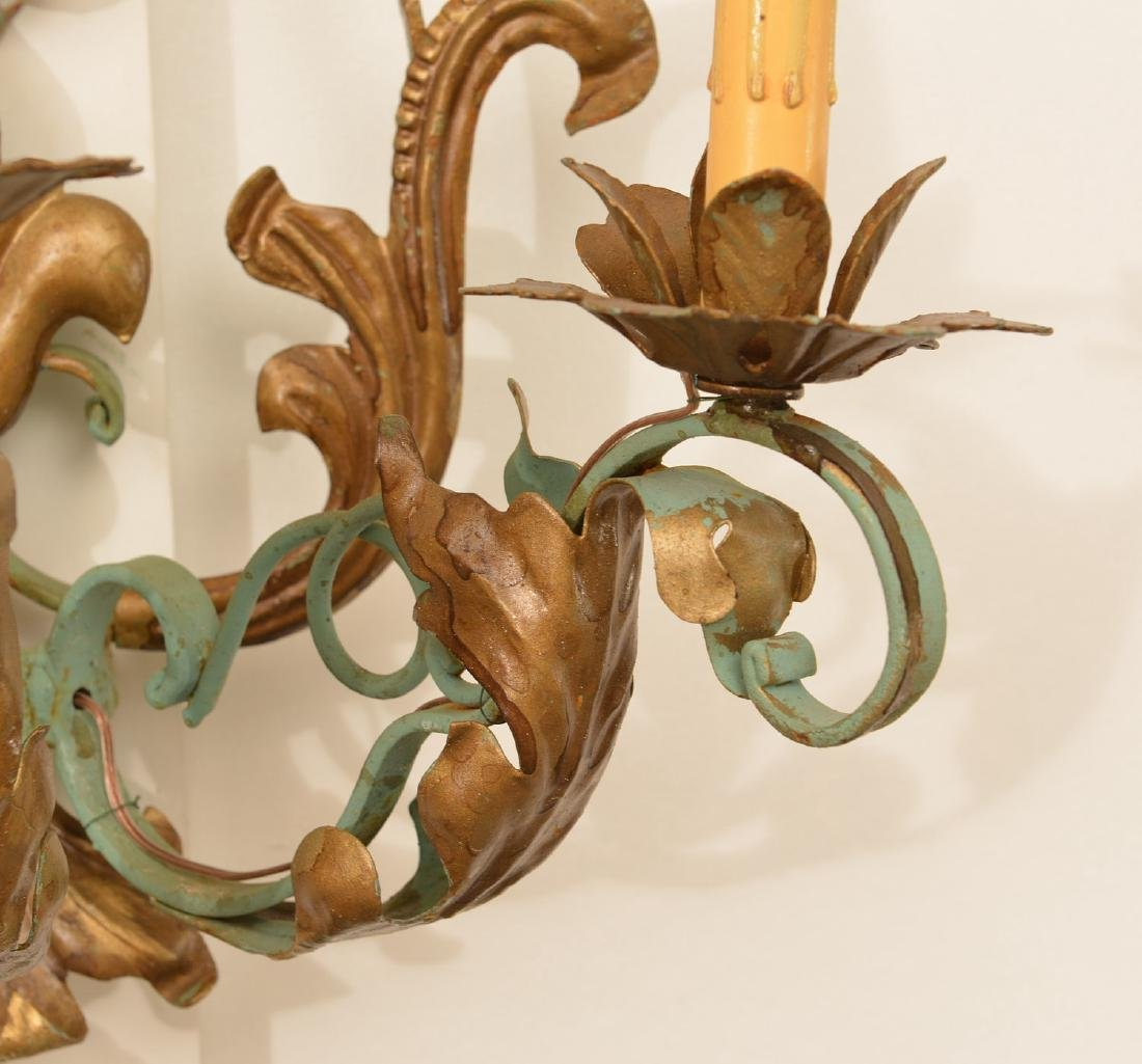 Pair Continental painted wrought iron wall sconces - 2