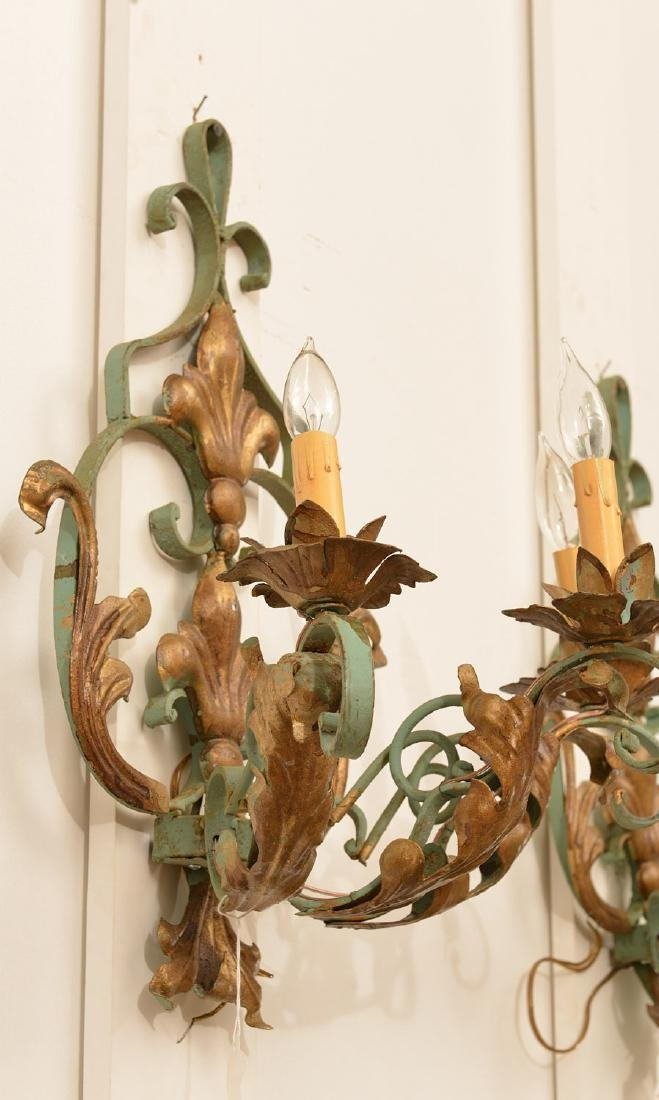 Pair Continental painted wrought iron wall sconces - 3