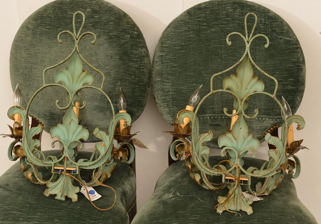 Pair Continental painted wrought iron wall sconces - 4