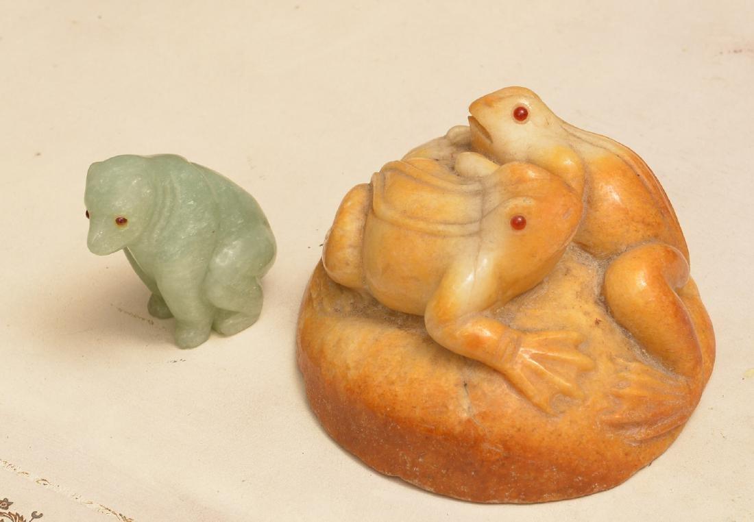 (2) Carved hardstone animal figures