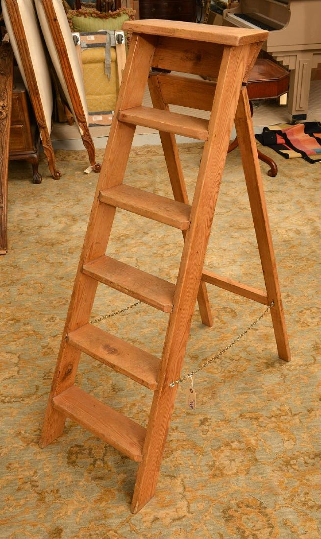 Antique pine folding library ladder