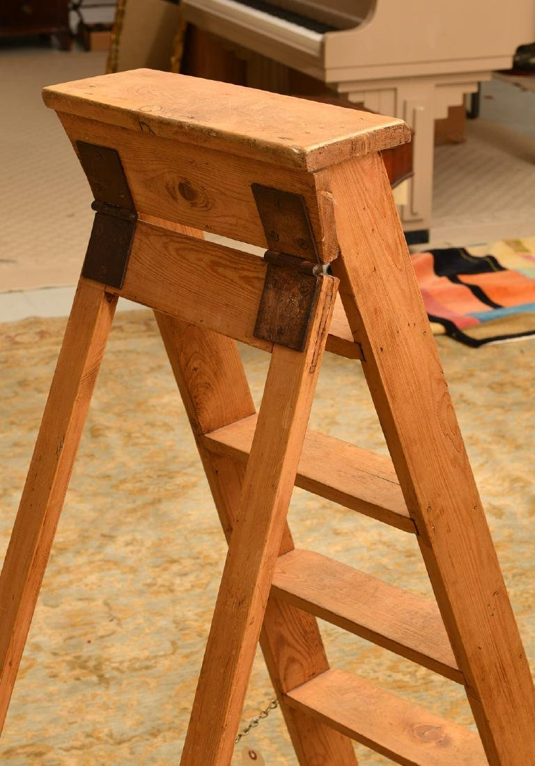 Antique pine folding library ladder - 2