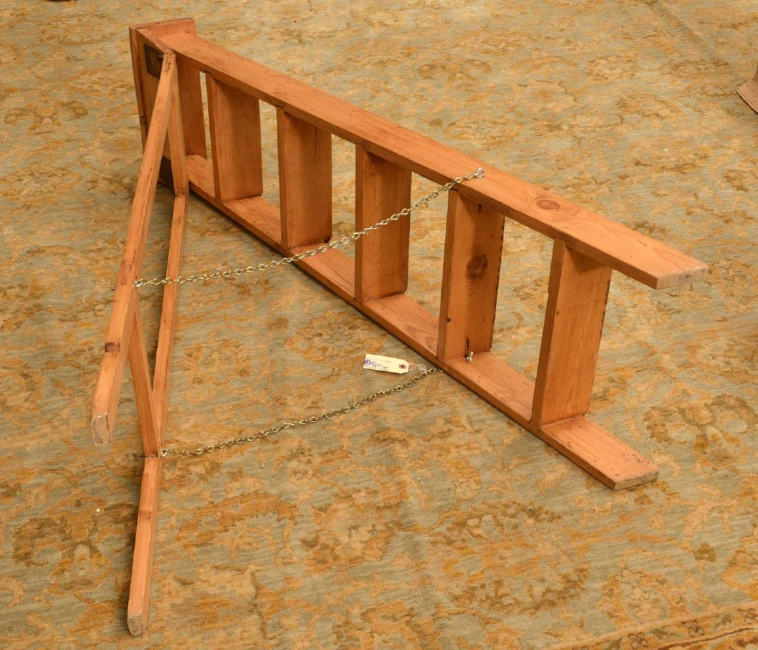 Antique pine folding library ladder - 3