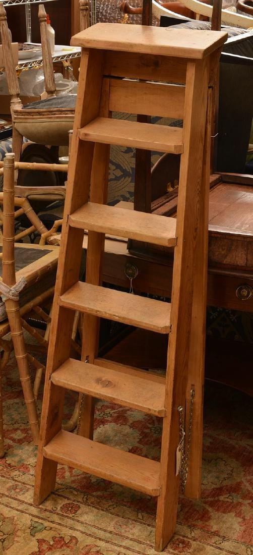 Antique pine folding library ladder - 5