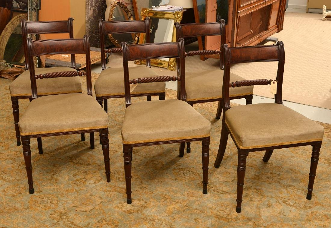 Set (6) American Classical mahogany dining chairs