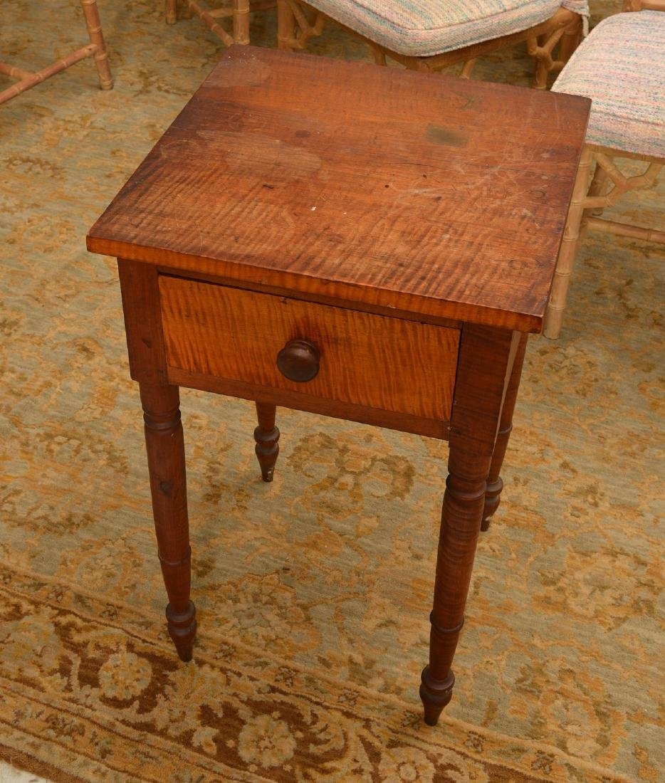 American tiger maple one drawer stand