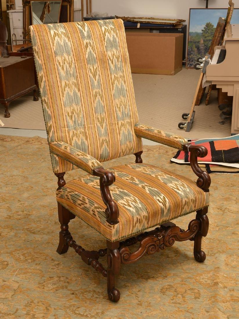 Charles II style walnut tall back chair