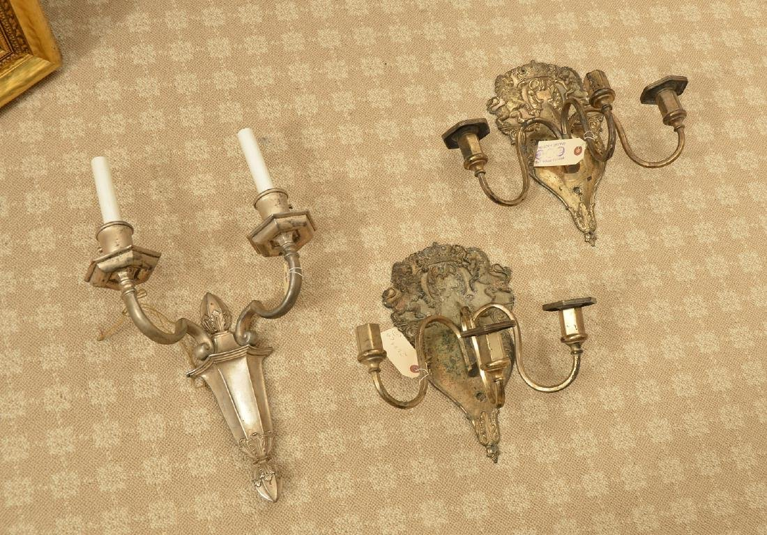 (3) silver plated wall sconces, Incl. Caldwell