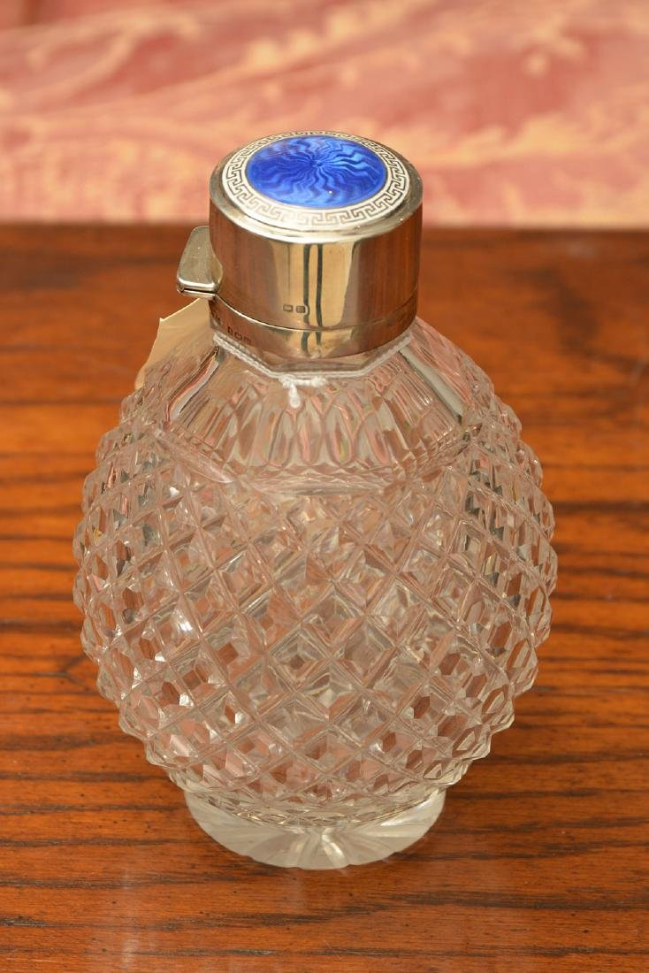 English scent bottle with enameled silver cap