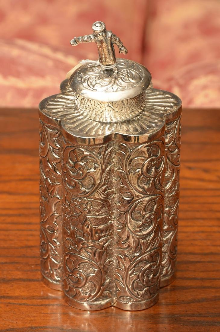 Continental repousse silver tea caddy
