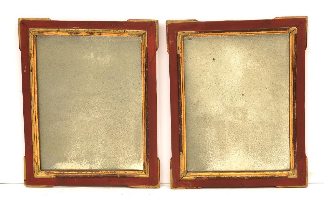 Pair Mexican red painted and gilt mirrors