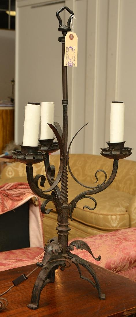 Gothic style wrought iron candelabrum table lamp