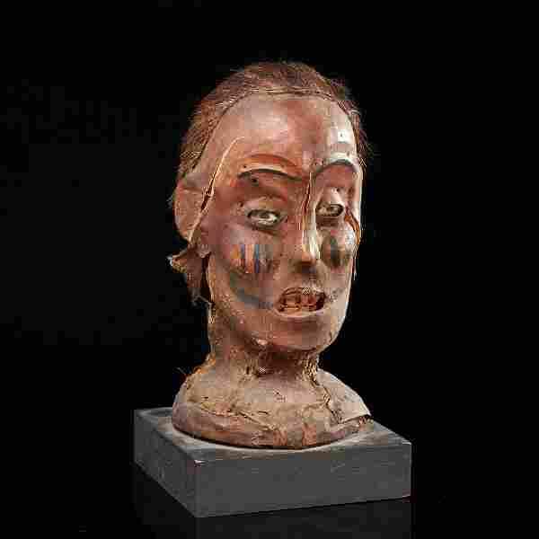 Frightening Ekoi skin headdress
