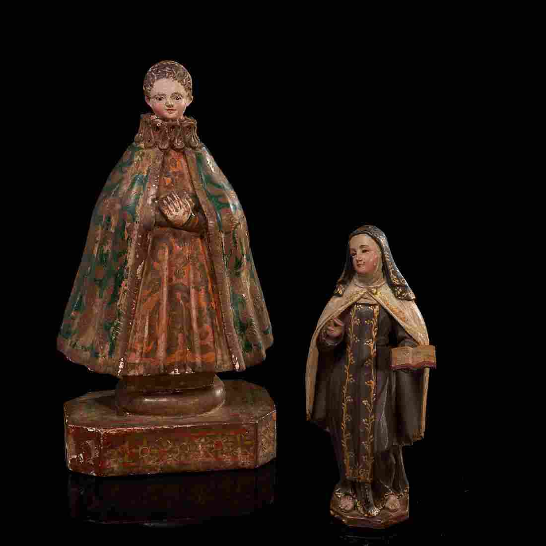 (2) antique Santo figures