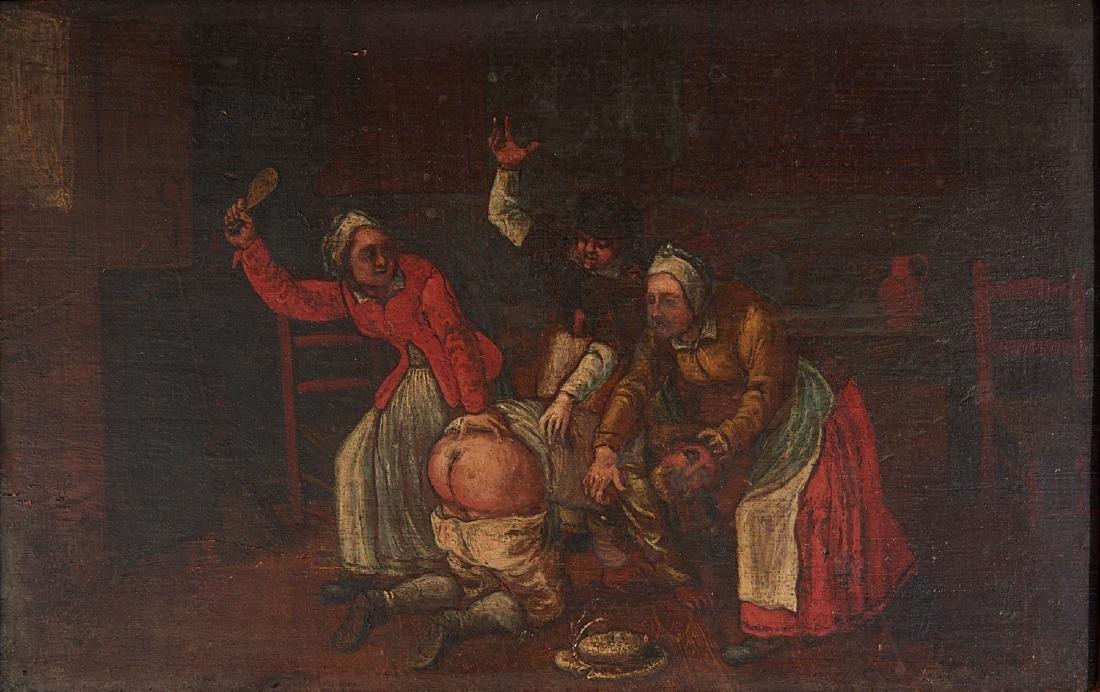 Franco-Flemish School, spanking painting