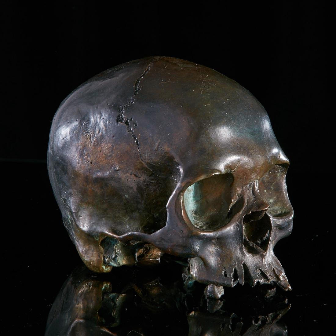 Exquisite patinated bronze skull model