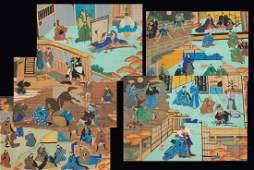 Japanese School battle and siege scroll paintings