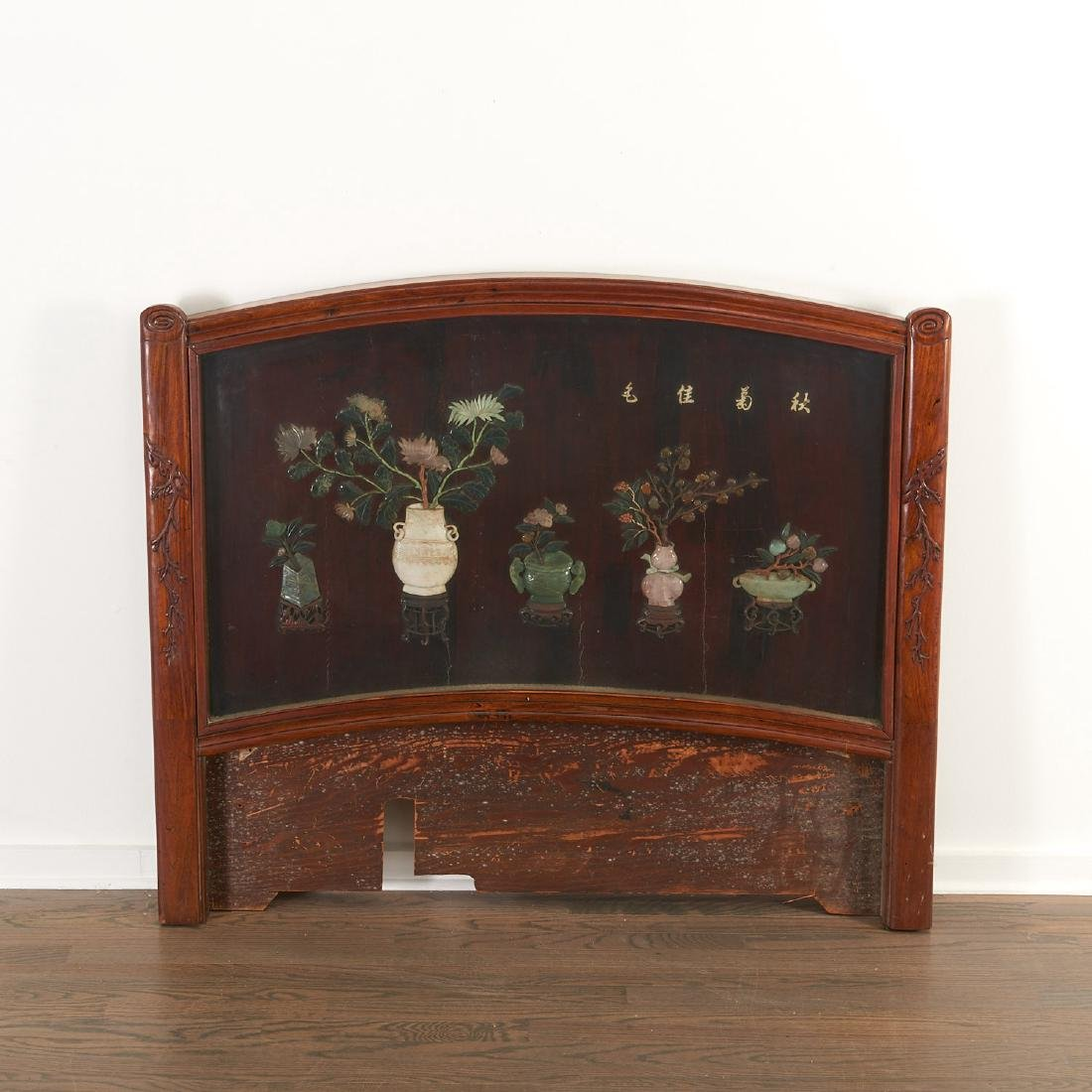 Chinese lacquered wood and jade inlaid panel