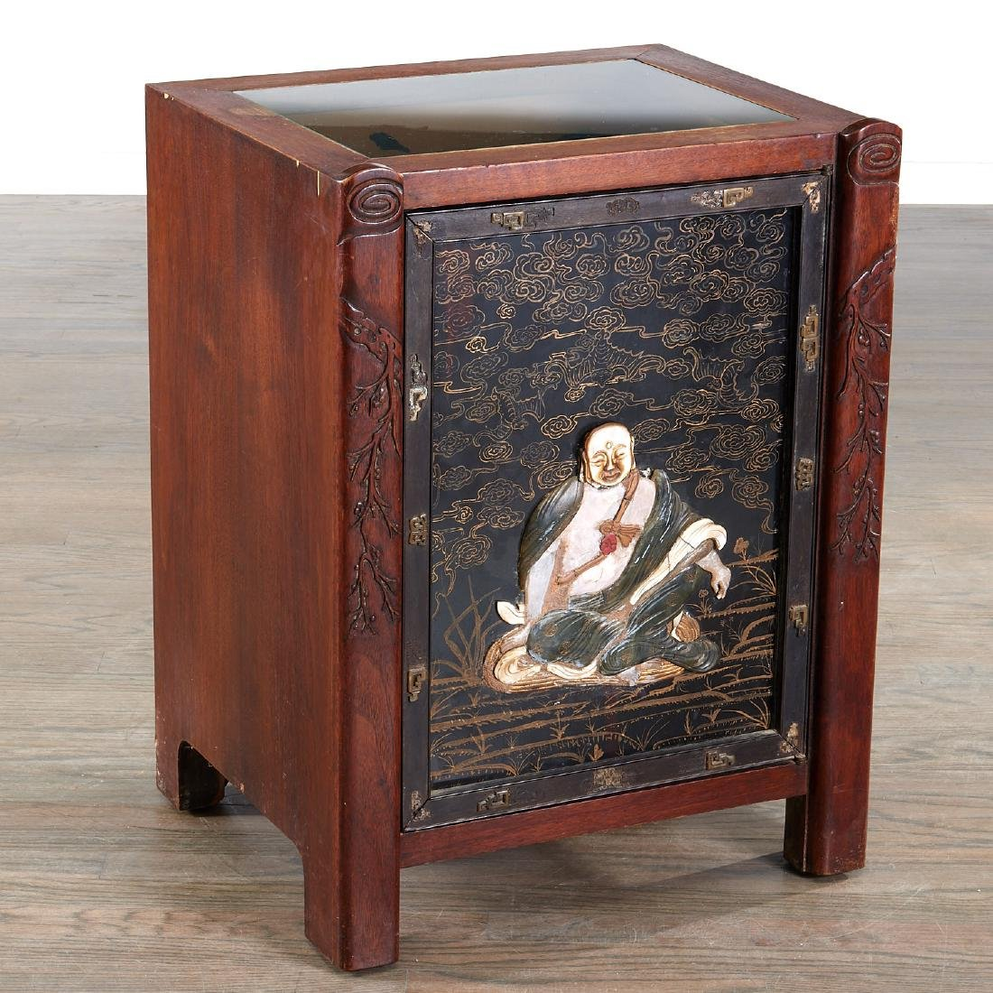 Chinese jade inlaid hardwood cabinet