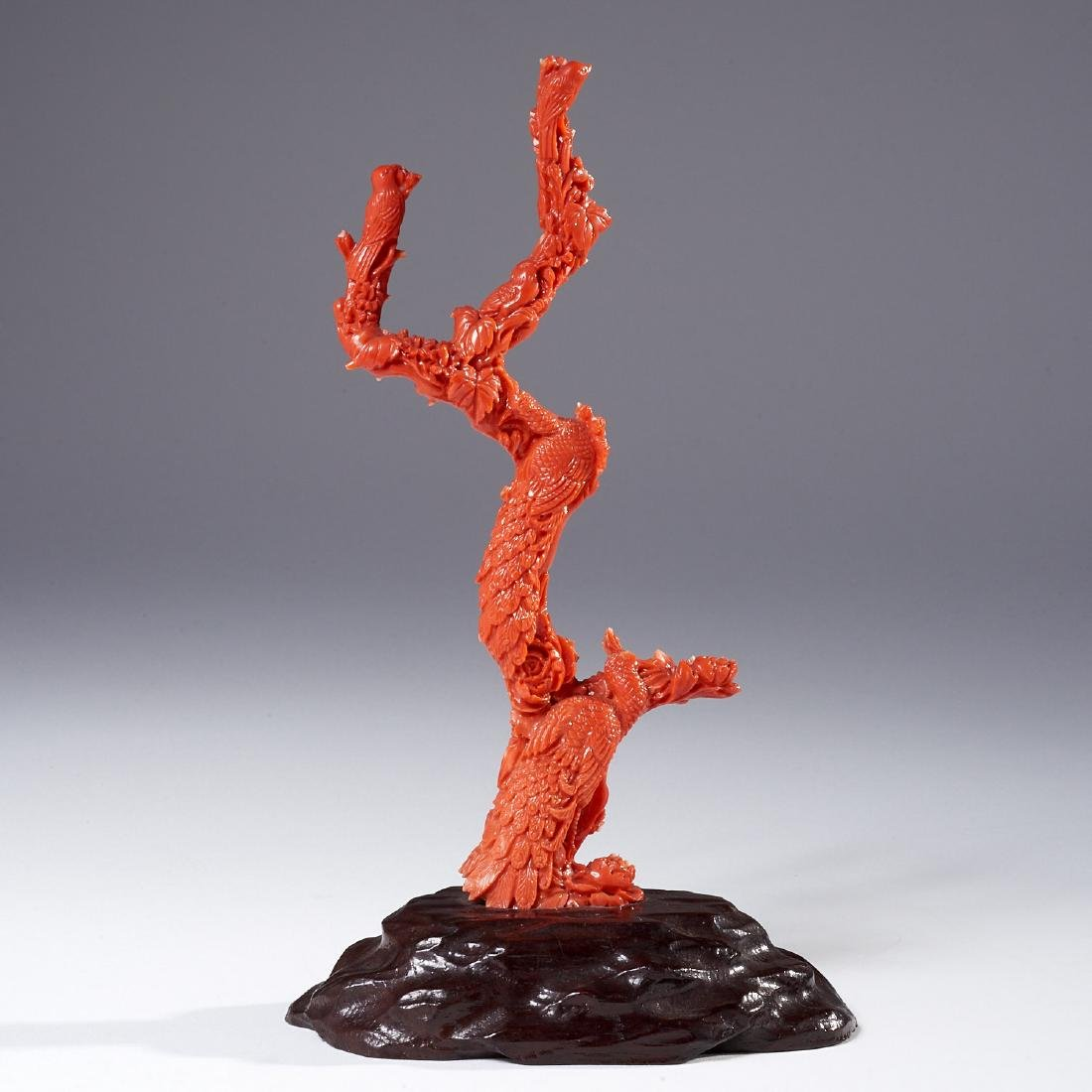 Chinese finely carved coral branch