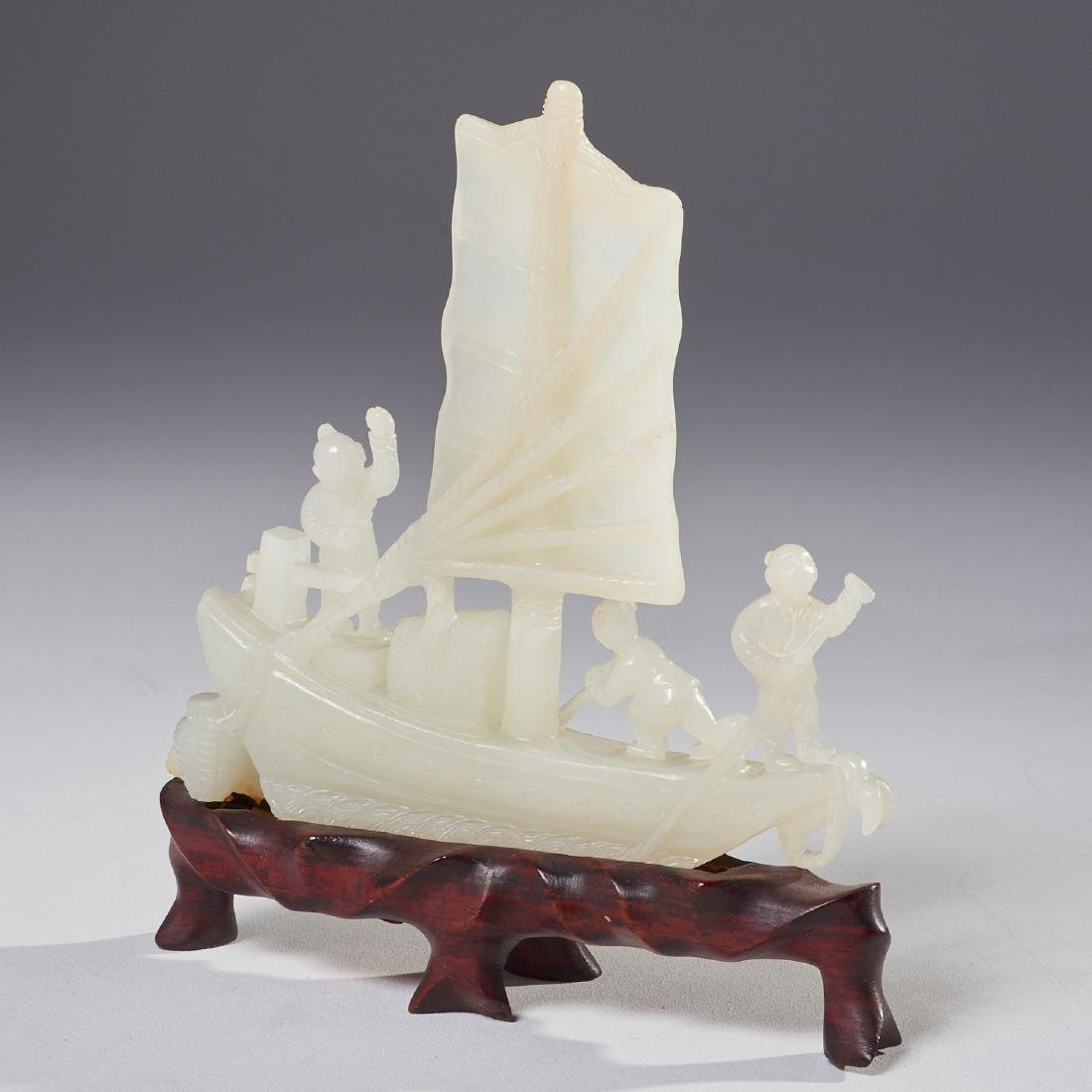 Chinese carved jade junque
