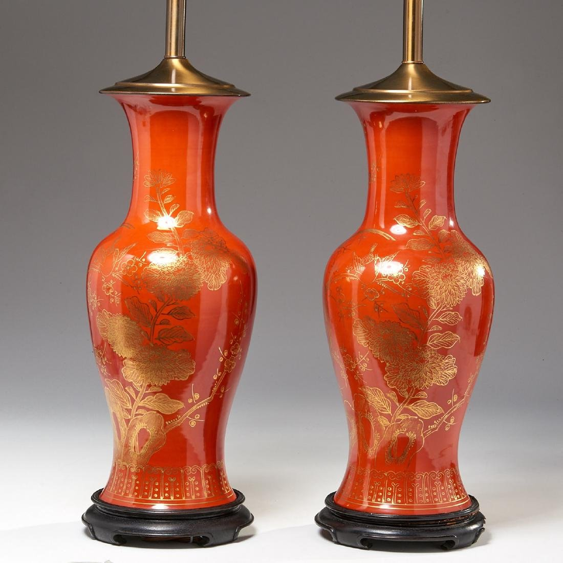Pair Asian iron red glazed vase lamps