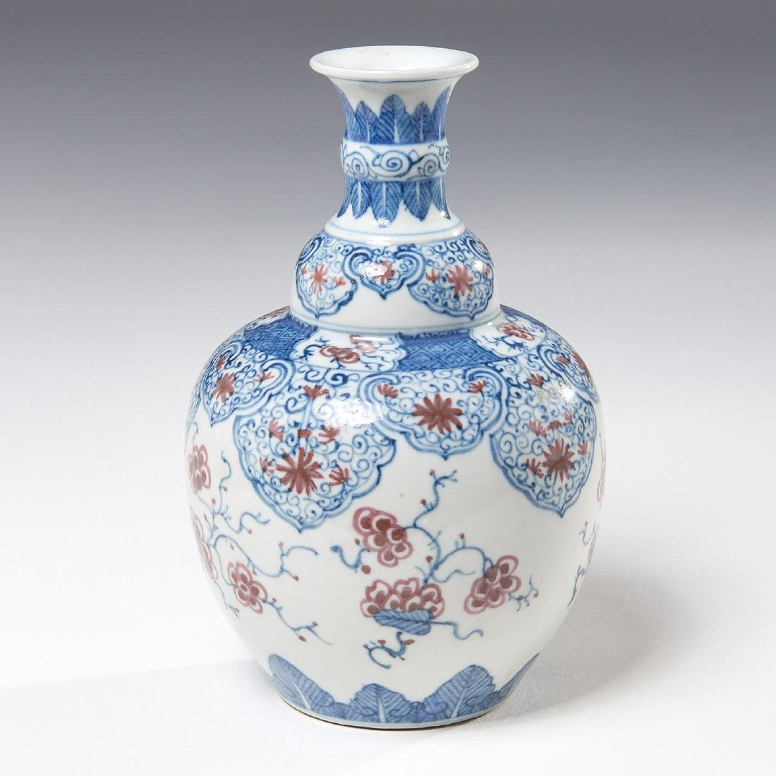 Chinese blue and iron red decorated vase