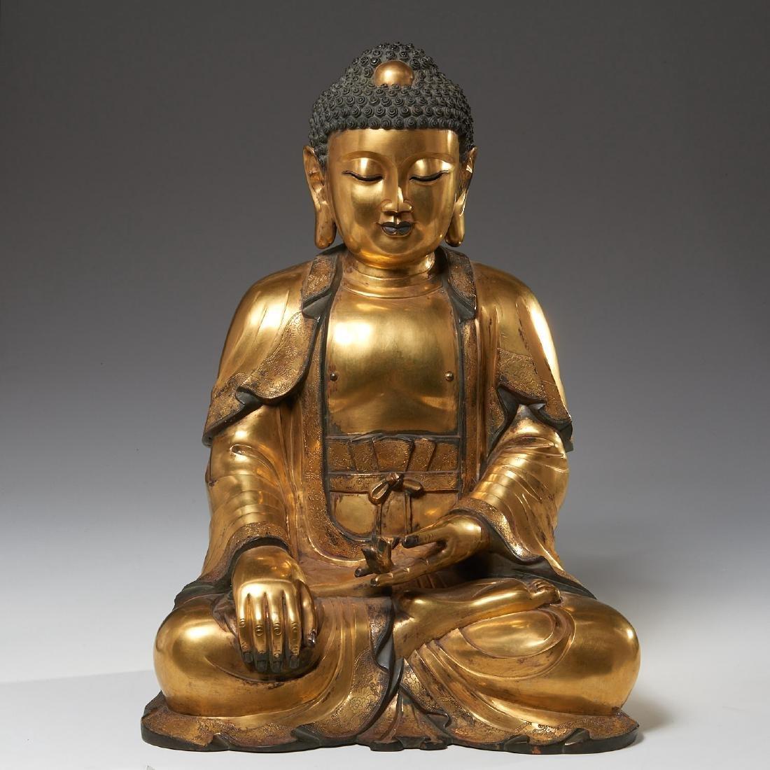 Large Asian gilt bronze Amitabha Buddha
