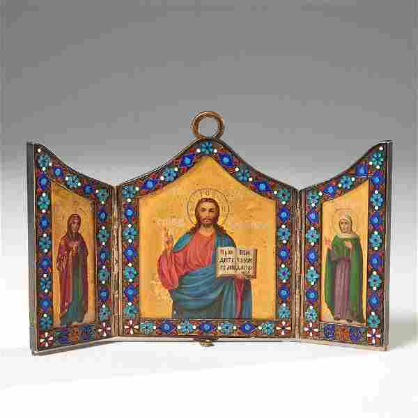 Good Russian enameled silver icon triptych