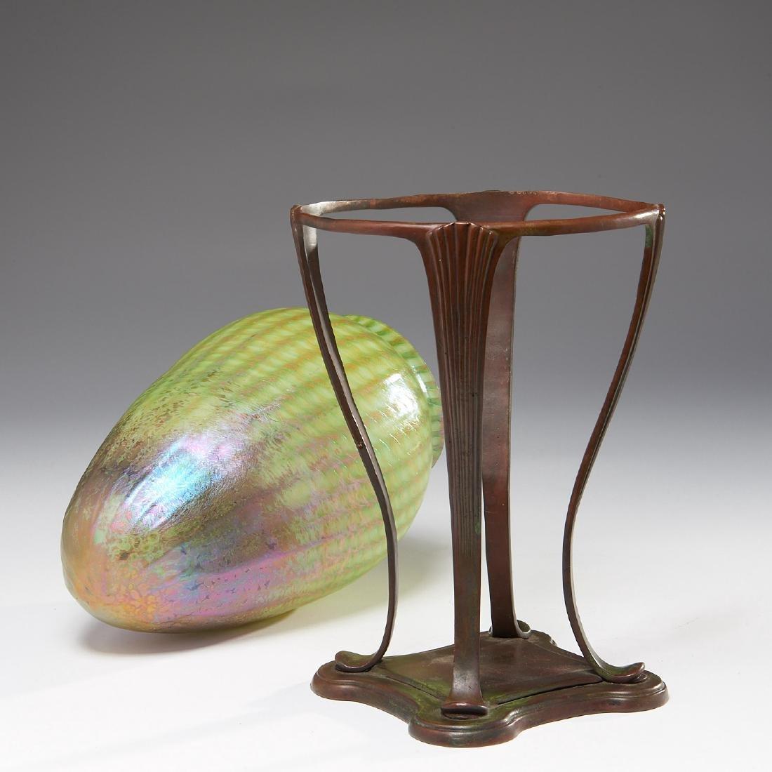 TIffany Studios Favrile glass vase on stand - 7