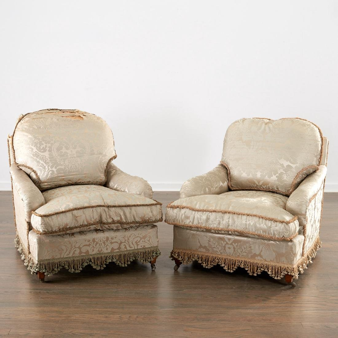 Pair silk upholstered lounge chairs