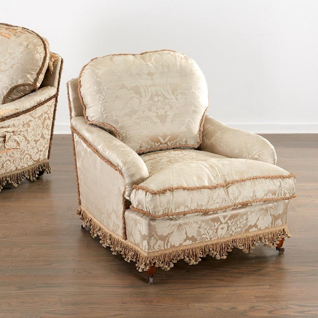Pair silk upholstered lounge chairs - 2