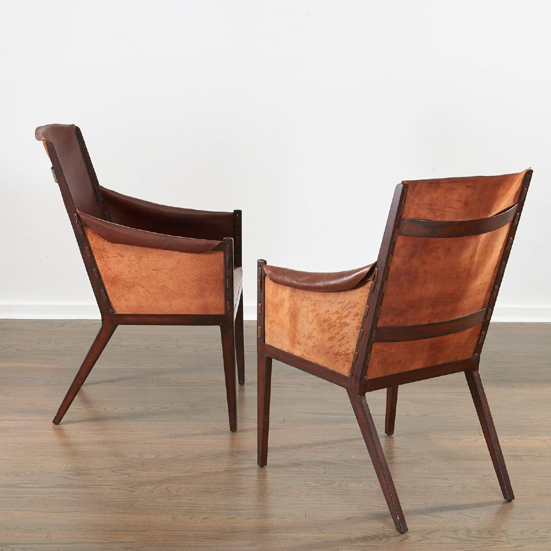 Pair Jean Michel Frank (after) leather chairs - 2