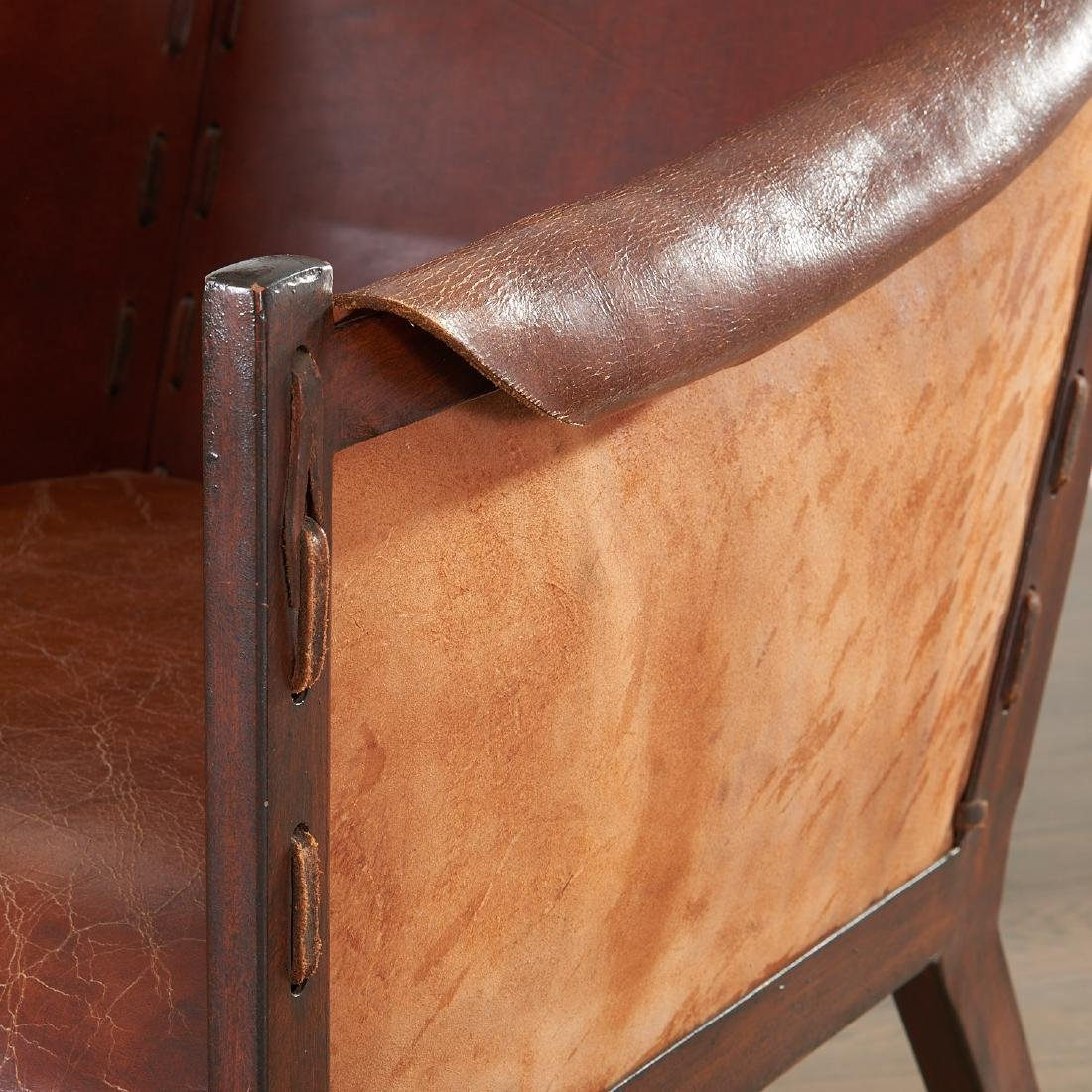 Pair Jean Michel Frank (after) leather chairs - 4