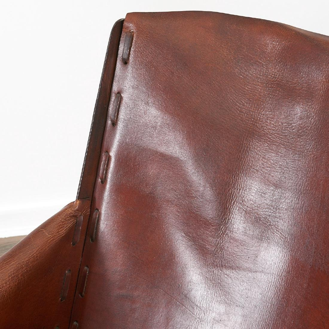 Pair Jean Michel Frank (after) leather chairs - 5