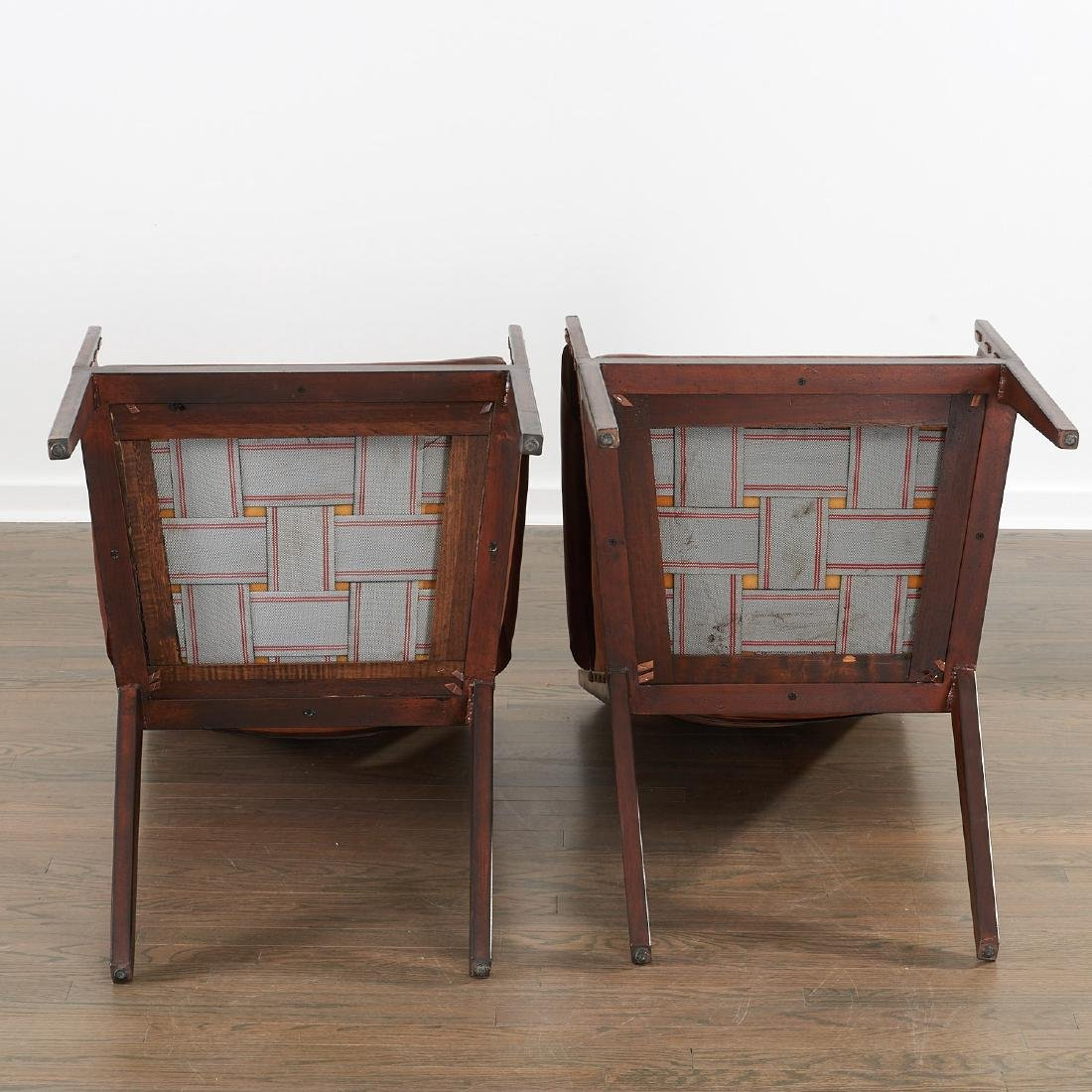 Pair Jean Michel Frank (after) leather chairs - 8