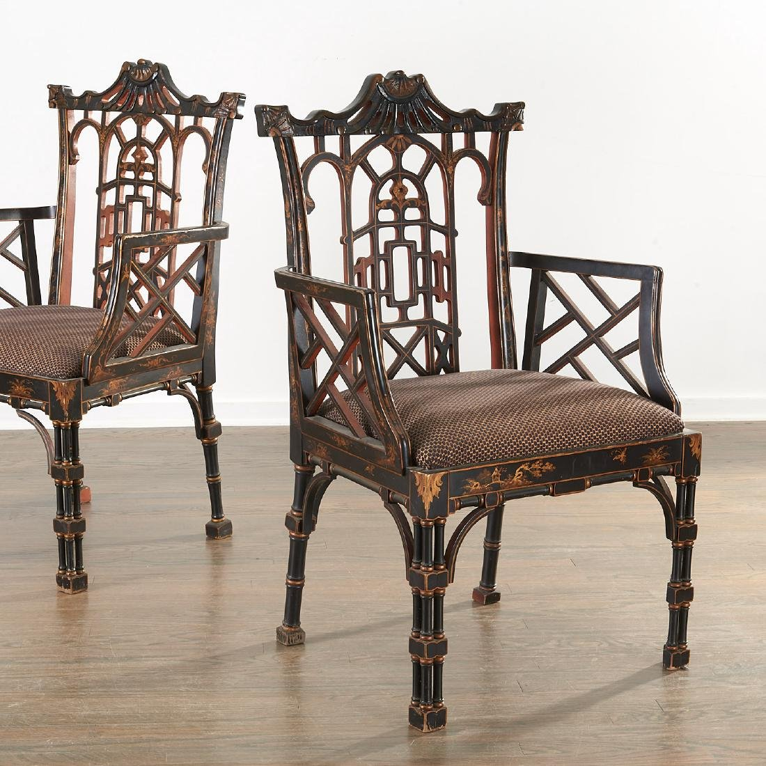 Pair Jacques Grange sourced Chinoiserie chairs
