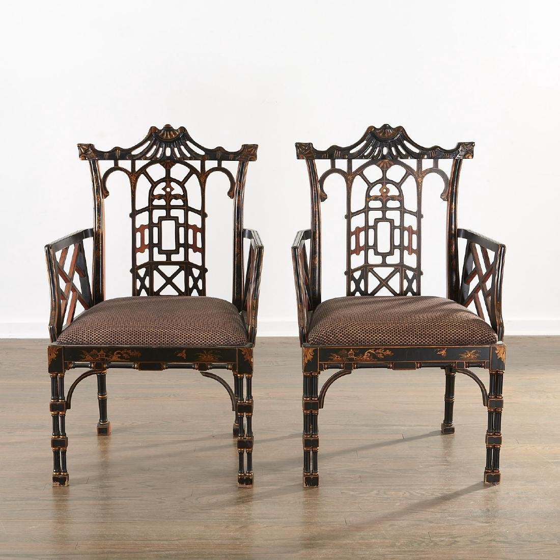 Pair Jacques Grange sourced Chinoiserie chairs - 2