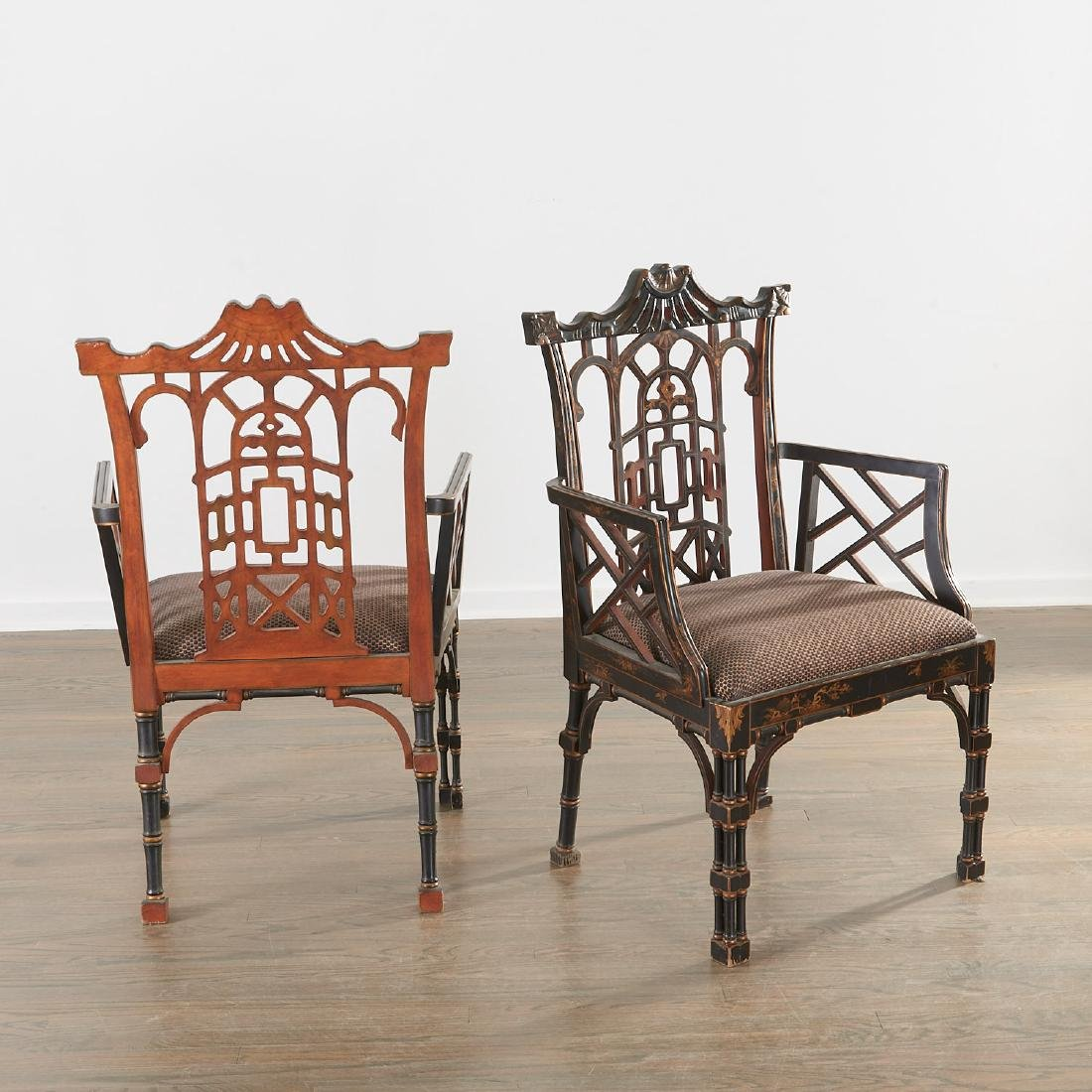 Pair Jacques Grange sourced Chinoiserie chairs - 4
