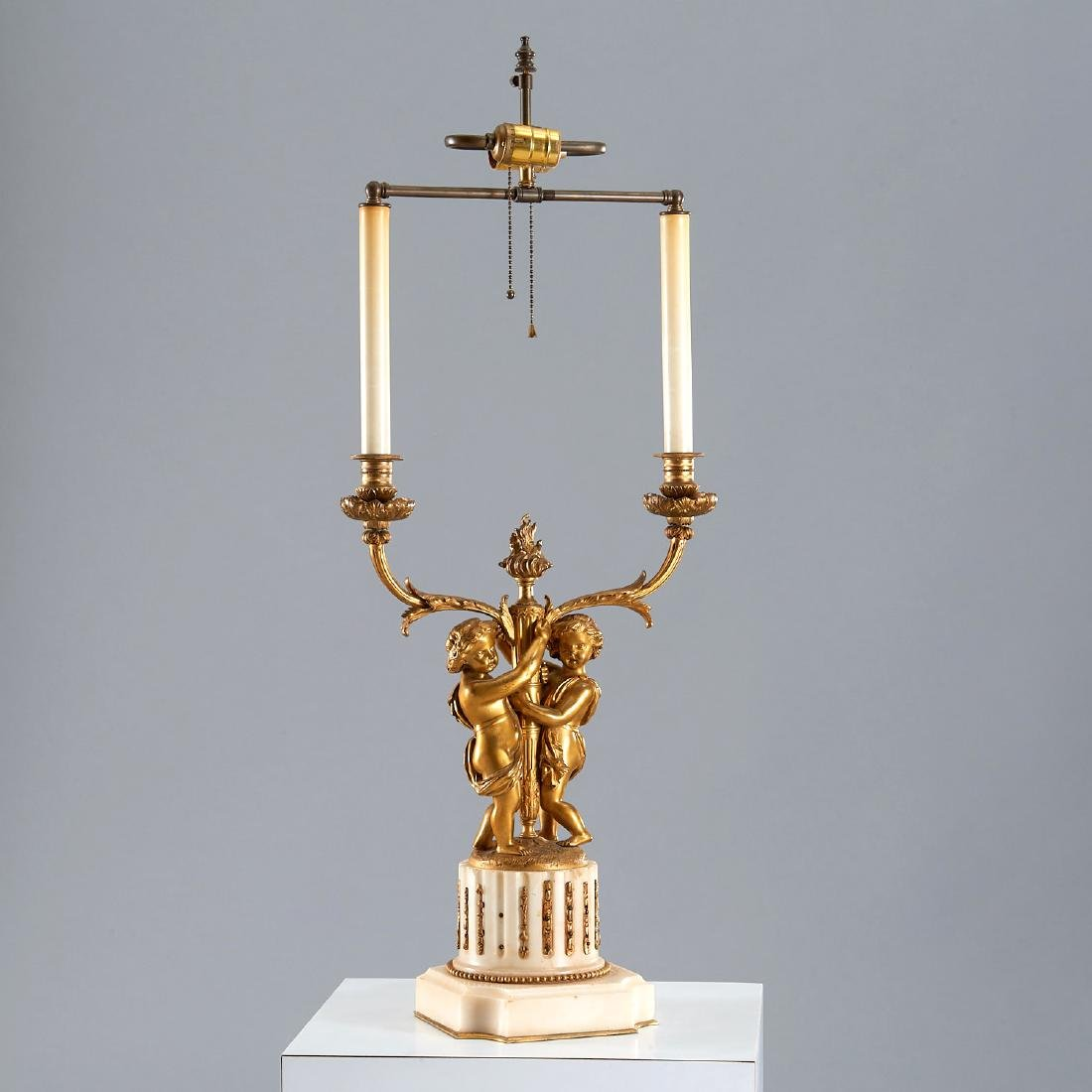 Neoclassical Gilt Bronze & Steel Candelabrum Lamp