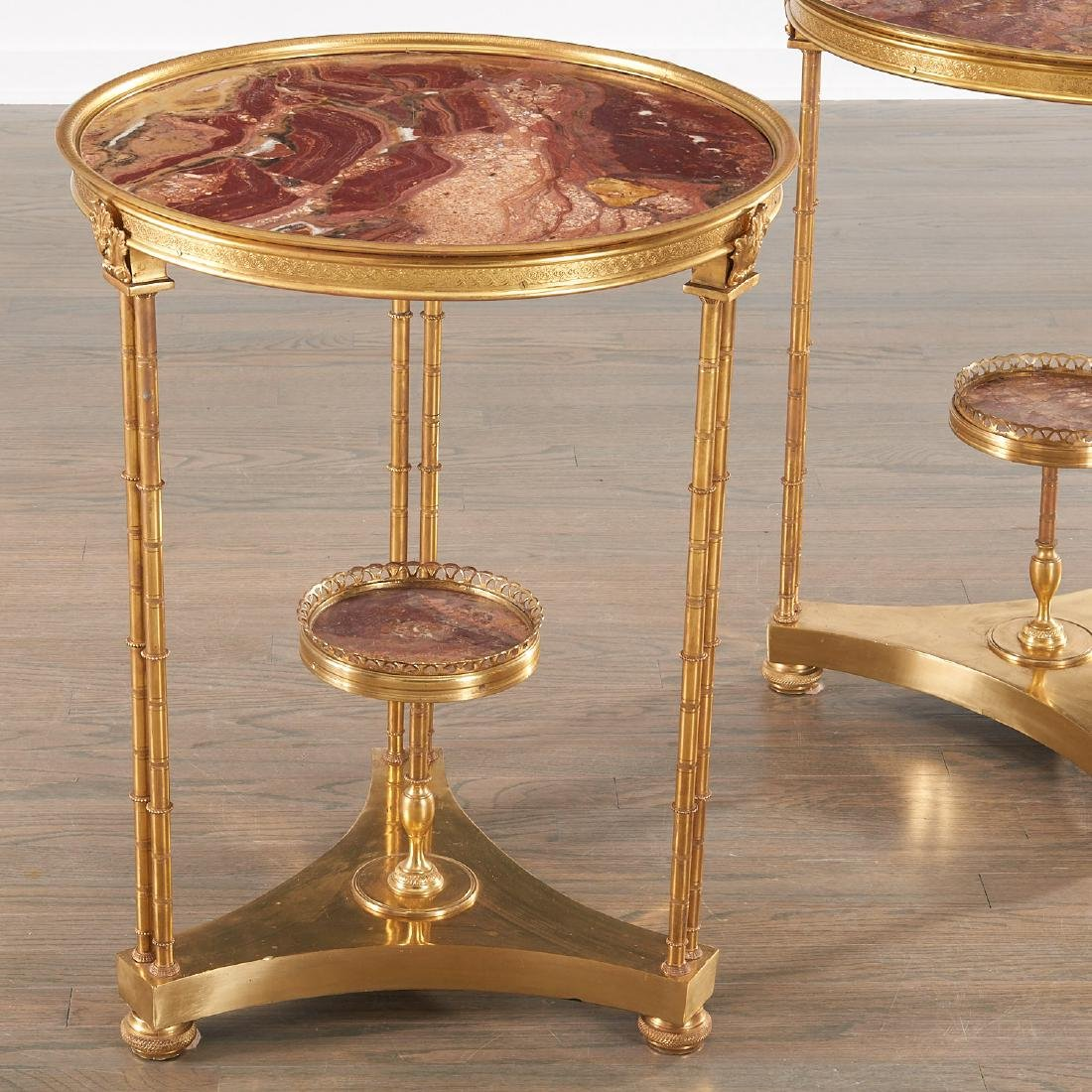 Pair Louis XVI style brass and marble gueridons