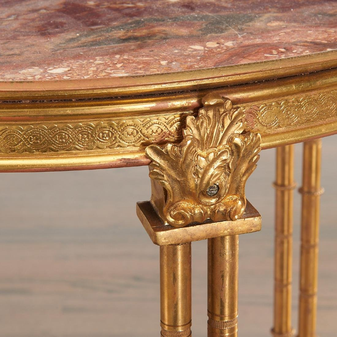 Pair Louis XVI style brass and marble gueridons - 2