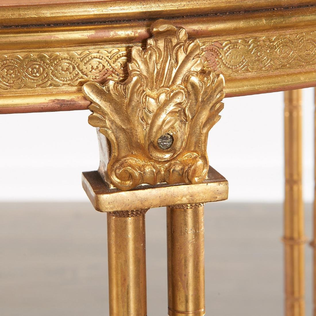 Pair Louis XVI style brass and marble gueridons - 4