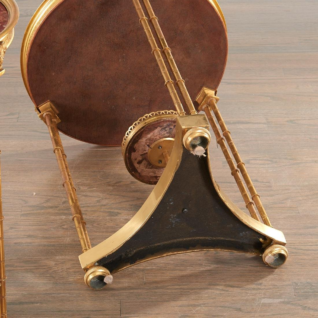 Pair Louis XVI style brass and marble gueridons - 6