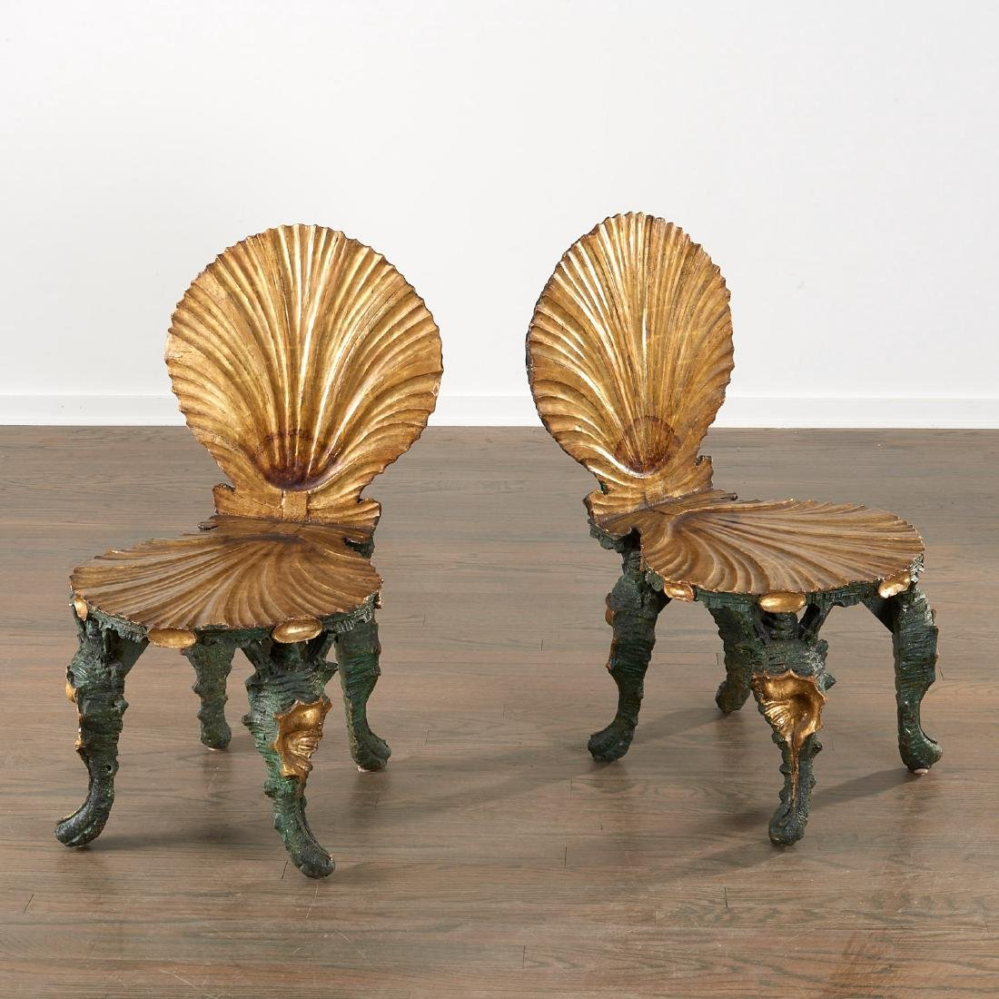 Nice pair Venetian carved grotto chairs