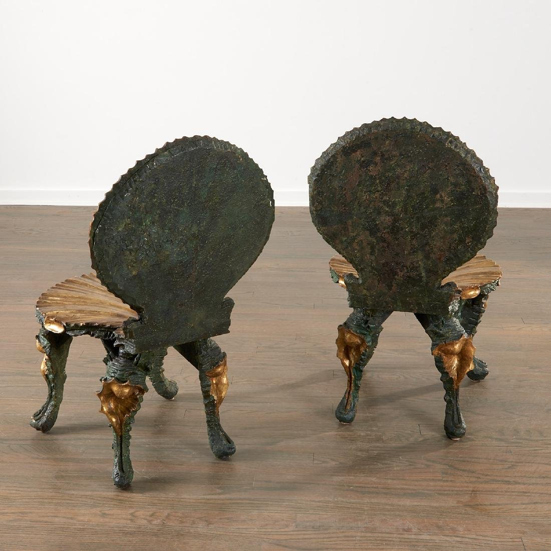 Nice pair Venetian carved grotto chairs - 4