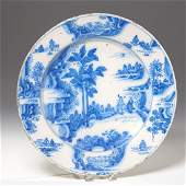 Antique Delft blue and white pottery charger