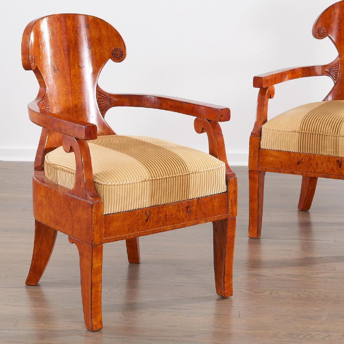 Pair Biedermeier burlwood armchairs