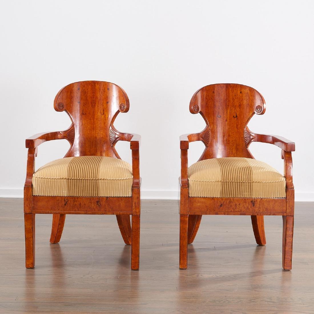 Pair Biedermeier burlwood armchairs - 2